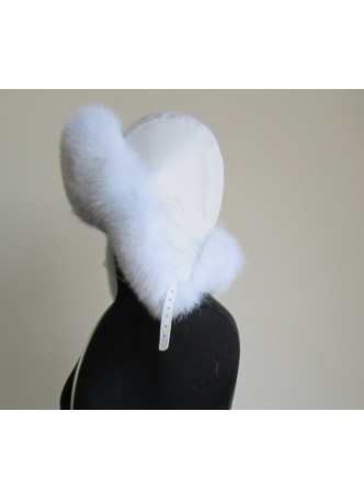 Fox Fur Hat w/ Leather Aviator Trooper Women's Men's White UNISEX