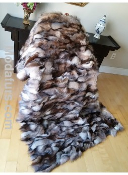 Crystal (Natural) Fox Fur Plate Throw Blanket Bedspread Rug Home Decor