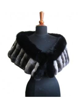 Chinchilla Fur & Black Fox Fur Cape Shawl Stole Wrap Wedding Women's