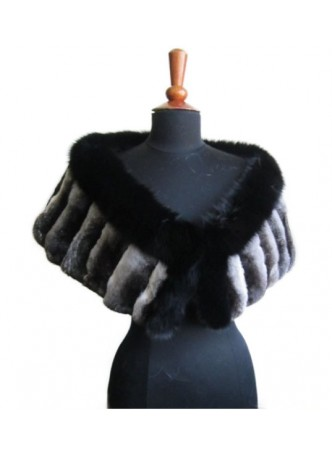 Chinchilla Fur & Black Fox Fur Cape Shawl Stole Wrap Wedding Women's