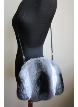 Chinchilla Fur Purse Shoulder Bag Cross-Body Hand Muff Warmer Women's