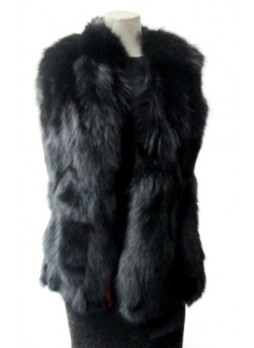 Real Black Fox Fur Vest Women's