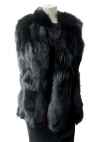 Real Black Fox Fur Vest Women's