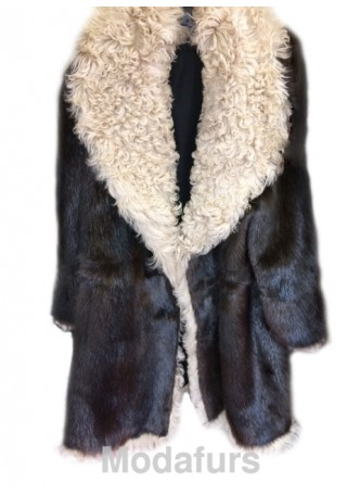 Men's Size 46 XL NEW Beaver Fur Coat with Curly Lamb Fur Vin Diesel  All Sizes Available