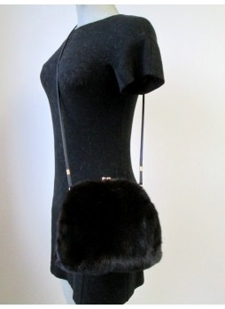 Mink Fur Black Purse Shoulder Bag Cross-Body Hand Muff Warmer Women's