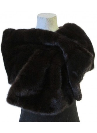 Mink Fur Cape Stole Wrap Scarf  Shawl Natural Dark Ranch Wedding Women's