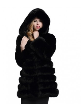 Fox Fur Jacket Coat with Hood Black Women's