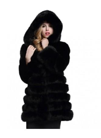 Fox Fur Jacket Coat with Hood Black Women's