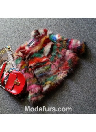 Multi Color Raccoon Fur Jacket / Coat Women's
