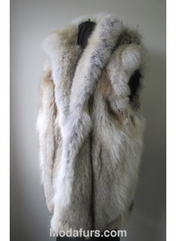 Men's Coyote Fur Vest with Detachable Hood Man XL