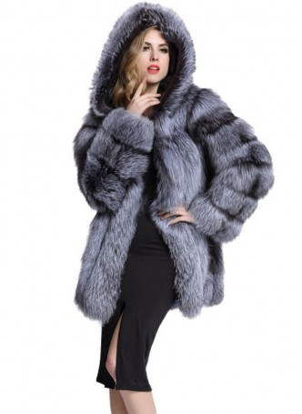 Silver Fox Fur Jacket  Coat with Hood Women's