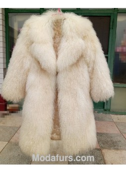 Mongolian Tibetan Lamb Fur Coat Natural White Women's