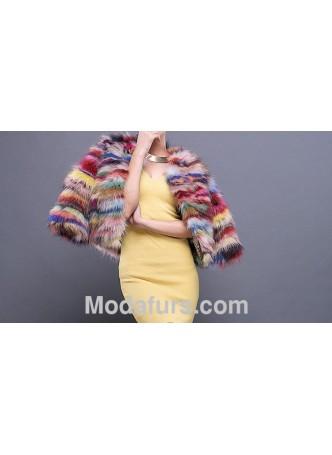 Multi Color Raccoon Fur Jacket / Coat Women's