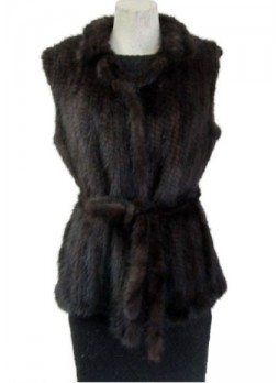 Knitted Mink Fur Vest  w/ Belt Women's