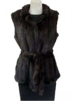 Knitted Mink Fur Vest  w/ Belt Women's
