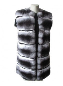 Chinchilla Fur Vest w/ Mink Women's