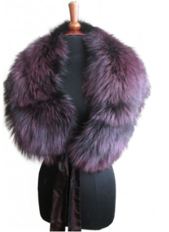 Silver Fox Fur Collar Cape Wrap Stole Purple Women's
