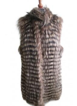 Silver Fox Fur Vest Brown Women's