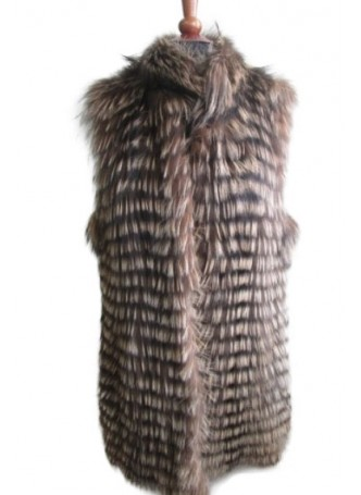 Silver Fox Fur Vest Brown Women's