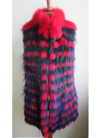 Silver Fox Fur Vest Red & Blue Women's