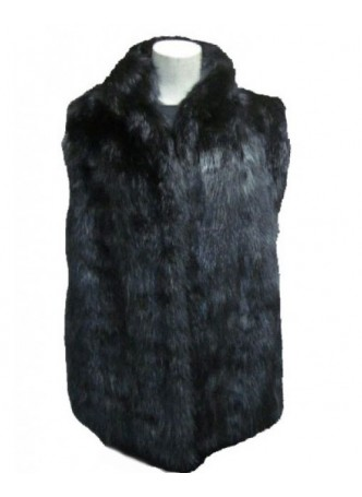 Men's Muskrat Fur Vest Black