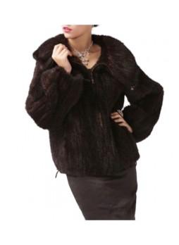 Knitted Mink Fur Jacket Coat Women's