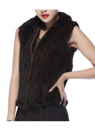 Knitted Mink Fur Vest Women's