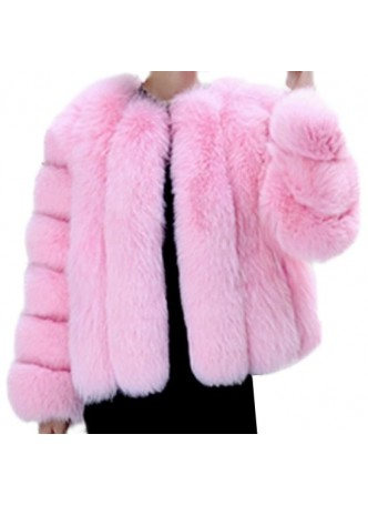 Fox Fur Jacket Coat Bubble Gum Pink Bolero Women's