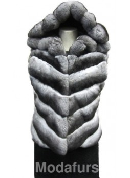 Chinchilla Fur Vest w/ Hood Women's