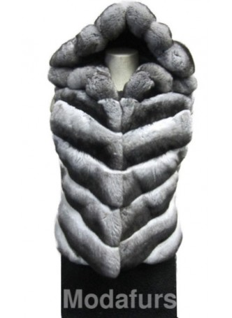 Chinchilla Fur Vest w/ Hood Women's