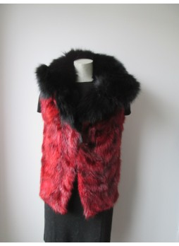 Raccoon Sheared Fur Vest w/ Black Fox Women's