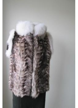 Raccoon Sheared Fur Vest w/ White Fox Women's