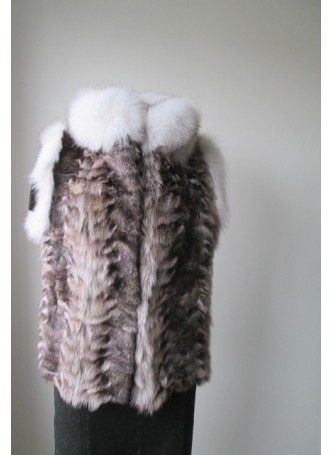 Raccoon Sheared Fur Vest w/ White Fox Women's