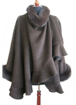 Alpaca Wool w / Fox Fur Wrap Cape Shawl Poncho Brown, Women's