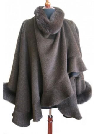 Alpaca Wool w / Fox Fur Wrap Cape Shawl Poncho Brown, Women's