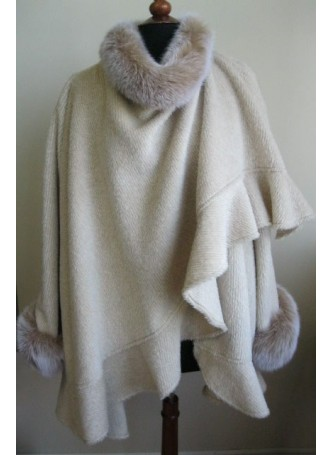 Alpaca Wool w / Fox Fur Wrap Cape Shawl Poncho Beige Women's