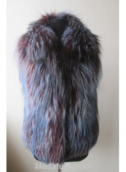 Silver Fox Fur Vest Purple Blue Women's