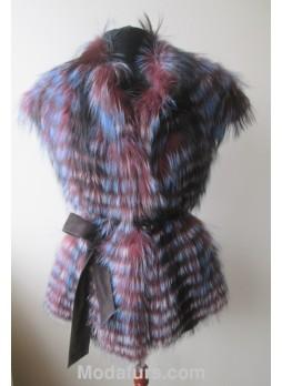 Silver Fox Fur Vest Purple Blue with Belt Women's