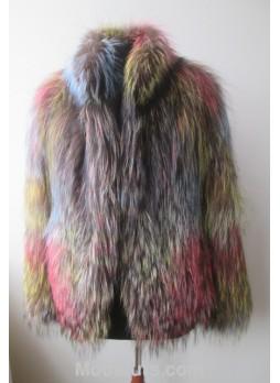 Knitted Fox Fur Jacket Coat Women's