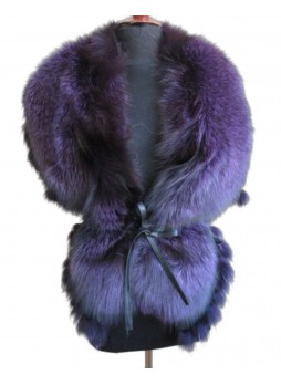 Fox Fur Cape Wrap Collar Stole Purple Women's WEDDING Special Occasions
