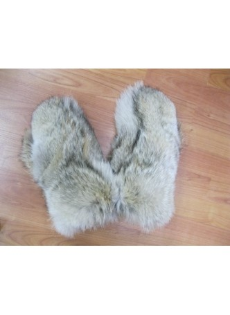 Coyote Fur Mittens with Black Leather Men Women Unisex