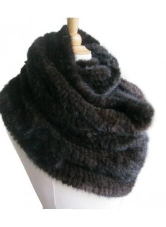Knitted Mink Fur Wrap Tube Eternity Scarf Collar Stole Women's