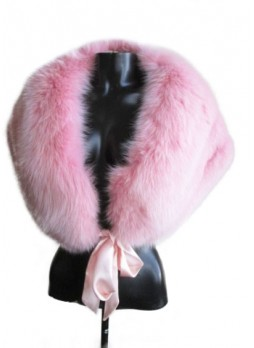 Fox Fur Cape Wrap Collar Stole Pink Women's