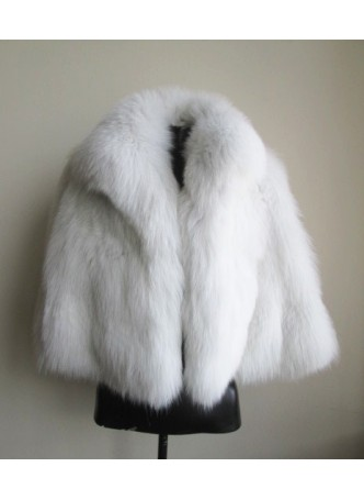 Fox Fur White Cape Shawl Stole Wrap Women's