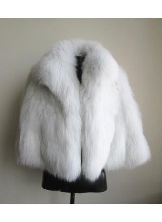 Fox Fur White Cape Shawl Stole Wrap Women's