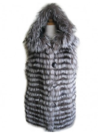 Silver Fox Fur Vest with Hood Women's