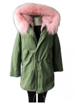 Military Style  Army Green Winter Coat Parka with Pink Raccoon Fur Trimmed Hood Women's