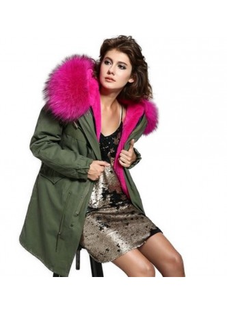Military Style  Army Green Winter Coat Parka with HOT Pink Finn Raccoon Fur Trimmed Hood Women's