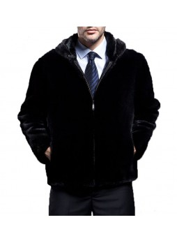 Men's Mink Fur Jacket Coat with Hood