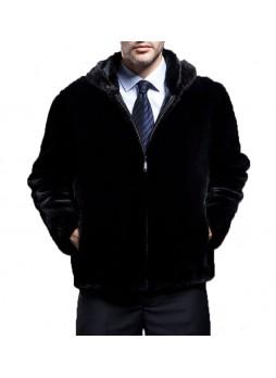 Mink Fur Jacket Coat with Hood Men's